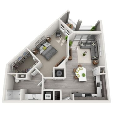 Rendering of the A2 floor plan layout
